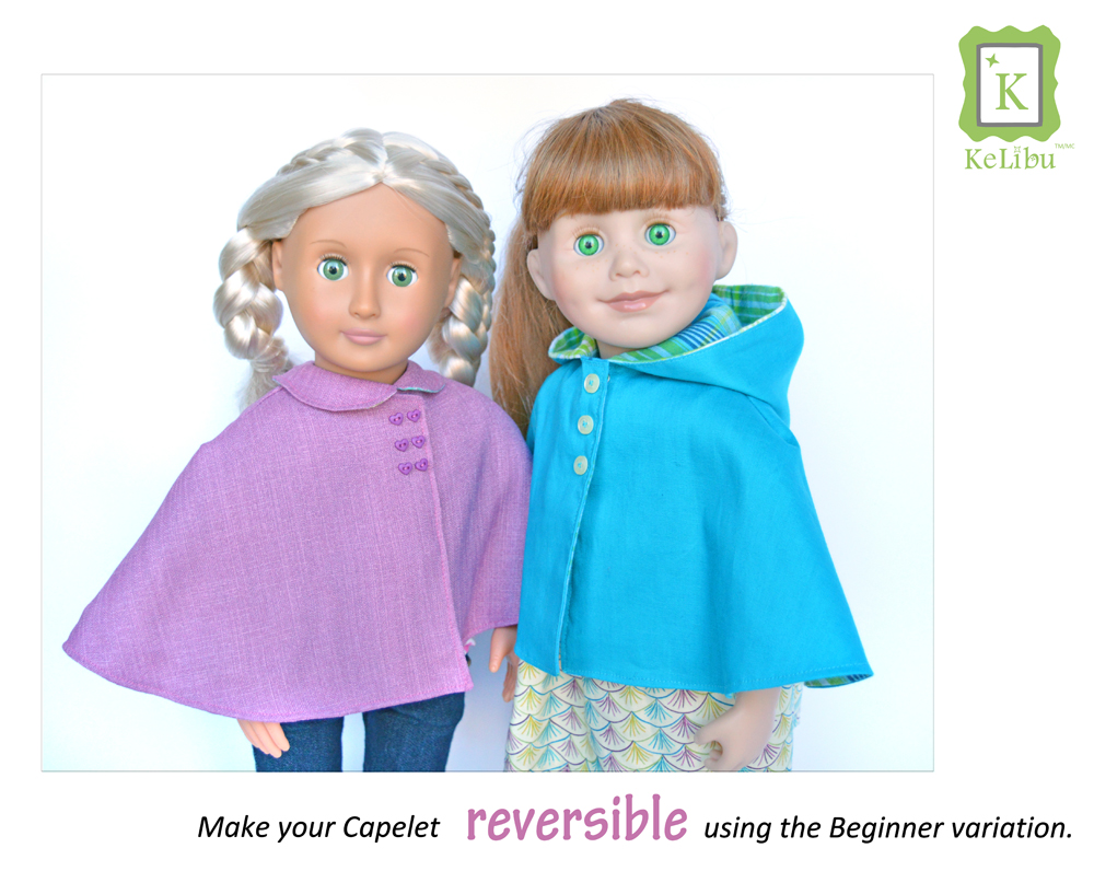 reversible cape for 18 inch dolls