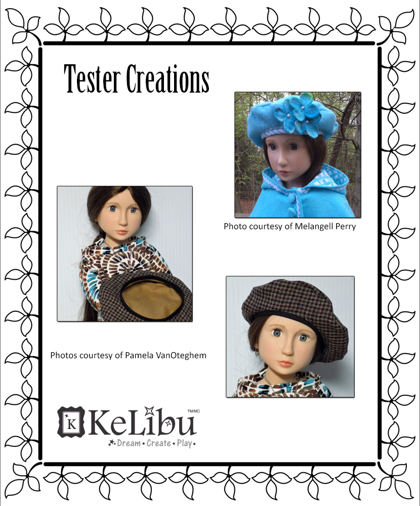 beret for slim play dolls