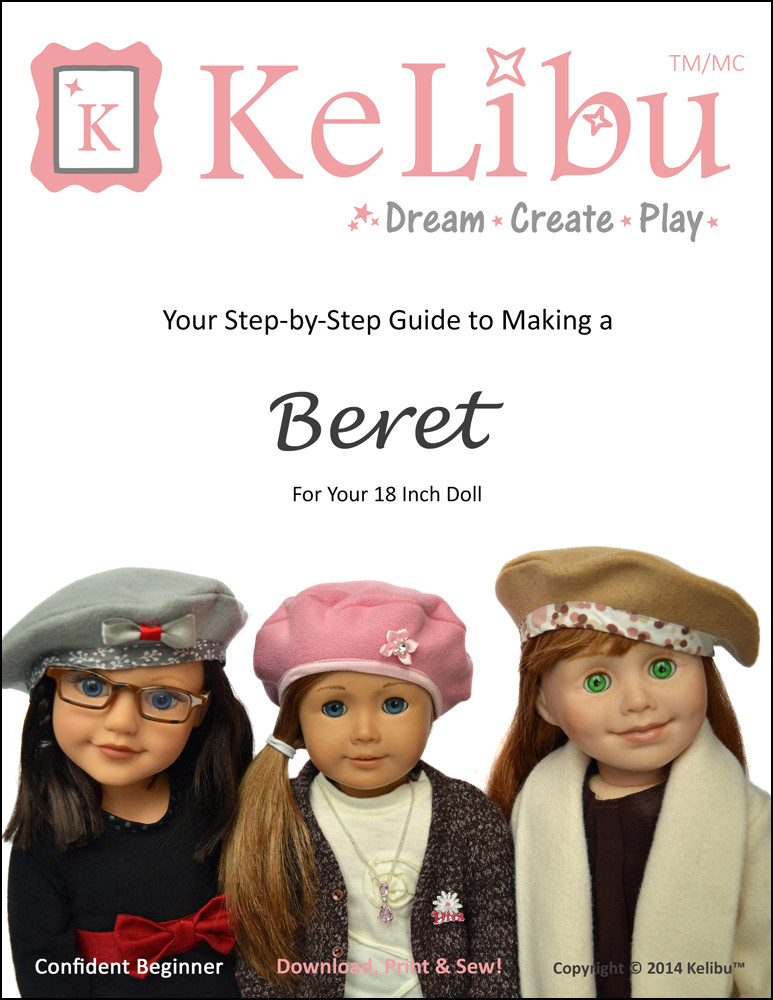beret for 18 inch dolls