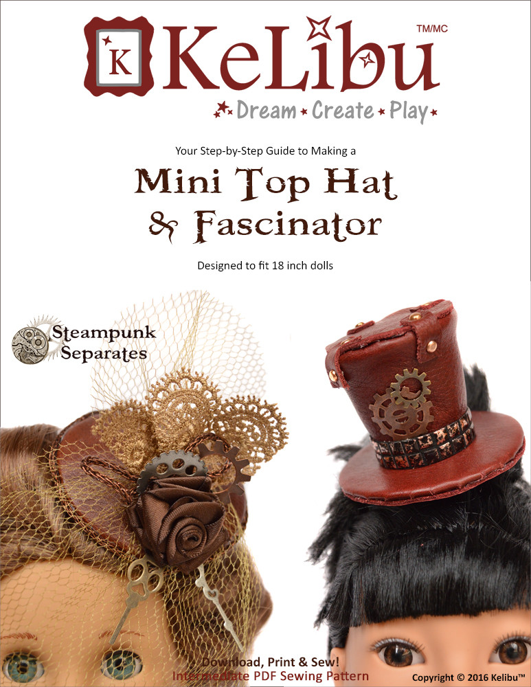 mini top hat and fascinator for 18 inch dolls