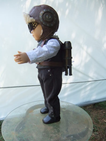 Steampunk Aviator Costume with jet pack-side